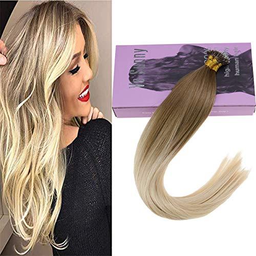 VeSunny Blonde Balayage Hair Extensions Nano Rings Human Hair Color #14 Mix #60 Platinum Blonde Ombre Nano Ring Loop Remy Hair Extensions Real Straight Hair 14