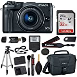 Canon EOS M6 (Black) EF-M 15-45mm f/3.5-6.3 IS STM Lens Kit + SanDisk 32GB Memory Card + Electronic Flash + Accessory Bundle