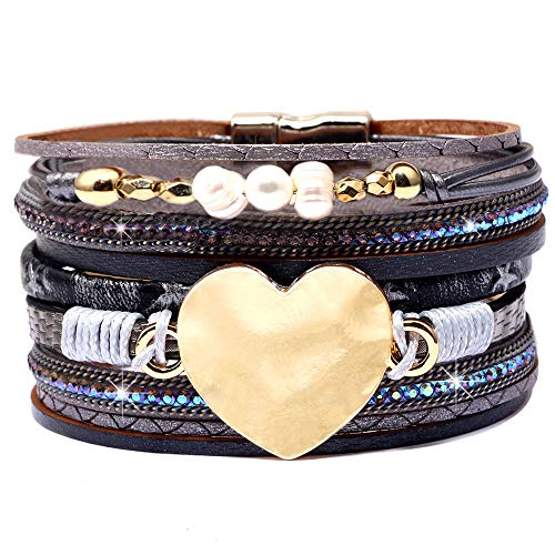 DESIMTION Leather Wrap Cuff Boho Heart Multilayer Magnetic Pulseras de Mujer Wide Handmade Wristbands Wrist Braided Buckle Casual Bangle Bracelets for Women Teen Girls Gifts (M-Grey Heart) ()