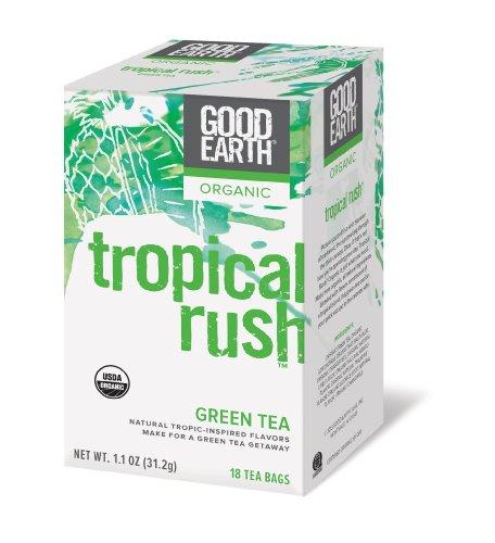 Good Earth Organic Green Tea, Tropical Rush, 18 Count Tea Bags (Pack of 6)