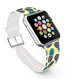 Pineapple Bands for Apple Watch 38mm,Ecute Replacement Band Leather Iwatch Strap With Silver Metal Clasp for Iwatch 38mm Series 3/Series 2/Series 1/Edition/Sport - Black Pineapple