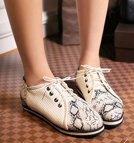 Aisun Womens Stylish Sexy Print Pointed Toe Elevator Low Heels Platform Dress Lace Up Flats Pumps Shoes Beige s4bak0IZe