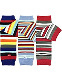 Baby 3-Pair Leg Warmers, Navy, Sky Blue, Red Stripes