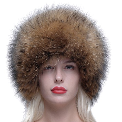 3887349eeb8 URSFUR Russian Winter Cap Real Raccoon Fur Ushanka Trapper Hat with Fur Tail