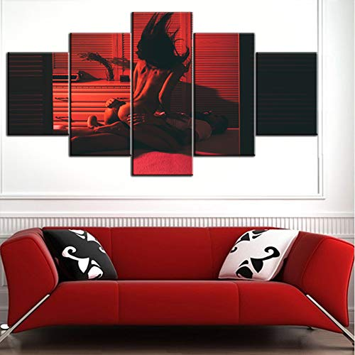 Black and White Bedroom Sex Couple Classic Sex Positions Pictures Human Sexual Paintings 5 Panel Canvas Modern Artwork Home Decor for Living Room Giclee Framed Stretched Ready to Hang(60''Wx32''H) (Best Orgasm Position For Women)