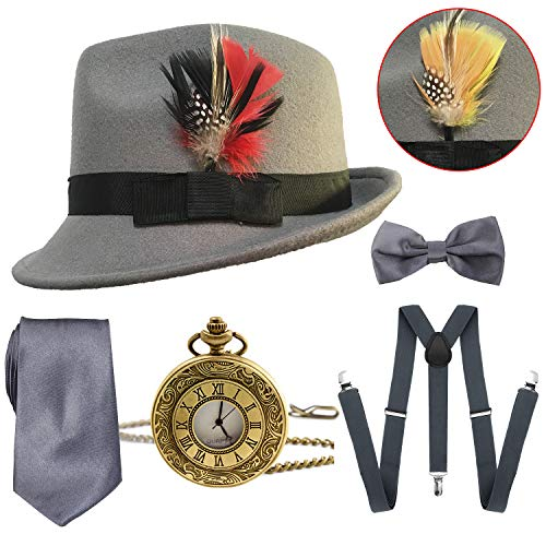 1920s Mens Gatsby Costume Accessories,Manhattan Fedora Hat w/Feather,Vintage Pocket Watch,Suspenders Y-Back Trouser Braces,Pre Tied Bow Tie,Tie (Grey) -