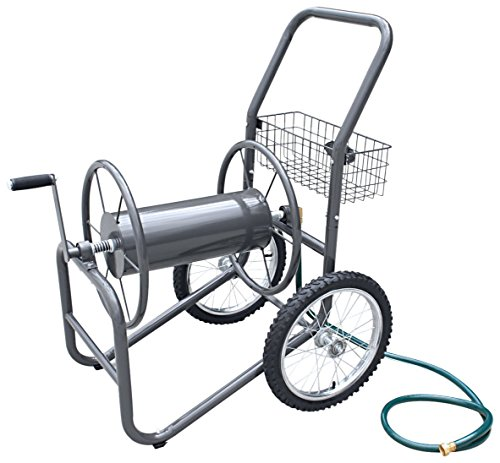 Liberty Garden 880-2 Industrial 2-Wheel Pneumatic Tires Garden Hose Reel Cart, Holds 300-Feetof 5/8-Inch Hose - Gray (Best Hose Reel Cart)