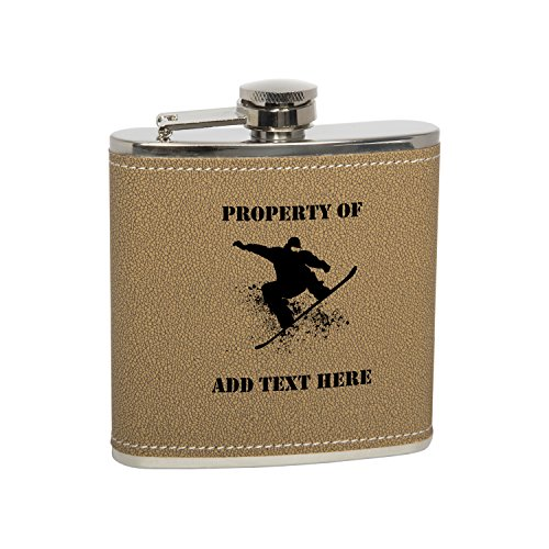 - Gift Box With 6 Oz Stainless Steel Natural Leather Covered Hip Flask With Funnel - Snowboarder Personalized Engraved Gift for Men, Custom Wedding Gift - Monogrammed Black Text