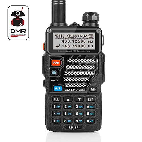 Radioddity x Baofeng RD-5R DMR Ham Amateur Two Way Radio, 136-174/400-470MHz Dual Band Dual Time Slot Walkie Talkie 1024 Channels Tier I & II Compatible with MOTOTRBO, Free Programming Cable by Radioddity