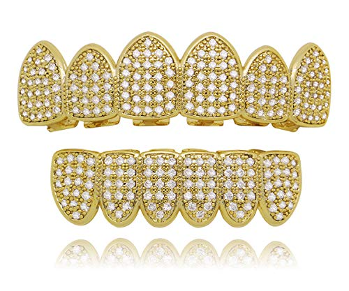 LuReen 14k Gold Silver Pave Full CZ Grillz 6 Top and Bottom Hip Hop Teeth Sets (Gold -
