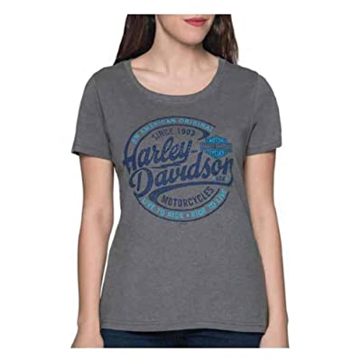 Harley-Davidson Women's Oil Surge Embellished Short Sleeve Poly-Blend Tee - Gray at Women's Clothing store