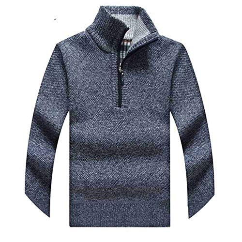 Men's Sweaters Thick Warm Winter Zipper Pullover Stand Collar Cashmere Wool Sweaters,Blue,XXL -