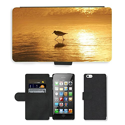 PU Leather Cover Custodia per // M00421612 Sanderling échassier Water Beach // Apple iPhone 5 5S 5G
