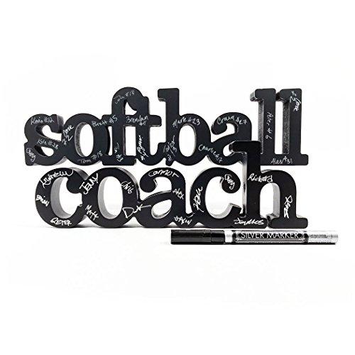 ChalkTalkSPORTS Softball Coach Wood Words Ready to Autograph   Softball Sign & - Wood Autographs