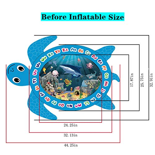 Vazussk Tummy Time Baby Water Mat Infant Toy Inflatable Water Play Mat Turtle Shape for 3 6 9 Months Newborn Boy Girl