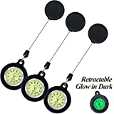 GetLucky Paramedic Luminous Nurse Fob Watch for Nurses Doctors, Nite Glow in Dark with Whole Dial & Pointer,Retractable Clip on Design (Black 3 Pcs)