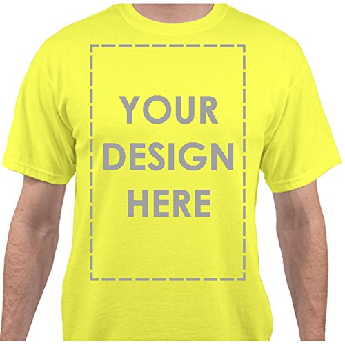 Text Yellow T-shirt - Add Your Own Custom Text Name Personalized Message Image Neon Yellow T-Shirt - 3XLarge