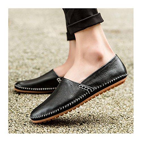 Hombres de Ocasionales los de de Barco Deslizamiento Moda Plano Cuero Zapatos conducción Zapatillas NXY en los Negro la del de Mocasines OYFzxz