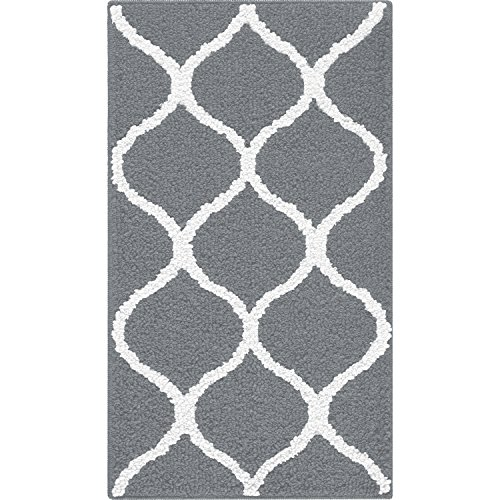 Kitchen Rugs, Maples Rugs [Made in USA][Rebecca] 1'8 x 2'10 Non Slip Padded Small Area Rugs for Living Room, Bedroom, and Entryway - Grey/White