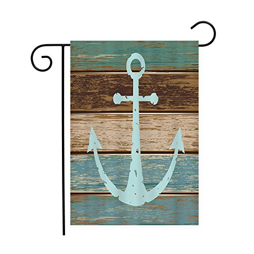 Nautical Anchor Rustic Wood Garden Flags House Decor Mini Ya