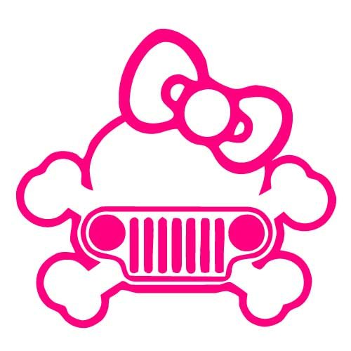 Jeep Girly Skull Vinyl Sticker Decal-DeepPink-4 (Girly Skull Stickers)