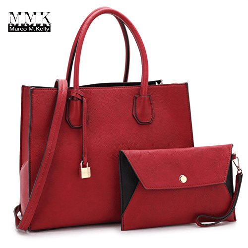 Women Fashion Handbag Matching wallet~Classic Women Satchel Tote Bag Shoulder Bags~Signature Women Designer Purse~Perfect Women Satchel handbag with Spring colors (FN-23-7661-RED)