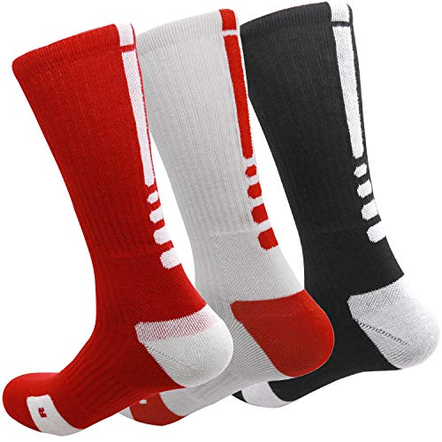 MUMUBREAL Mens Mixed Color Cushioned Dri-Fit Athletic Crew Socks,Red White Black,One Size