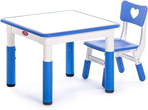 ZH Muebles para niños, Mesa de Actividades para Infantiles con 1 Silla, Mesa Cuadrada de Graffiti de Altura Ajustable para el jardín de Infancia, Mesa de Juego Mesa de Estudio: Amazon.es: Hogar