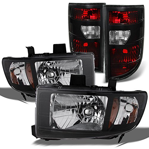 Honda Ridgeline Pickup Black Headlights Head Lamps Replacement Pair + Dark Red Tail Lights Combo