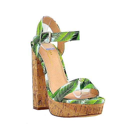 Women's Casual Sandal | Round Open Toe | Floral Print One Band Ankle Strap | Cork-Wrapped Platform Block Chunky Heel Sandals (10, (Chunky Leather Platforms)