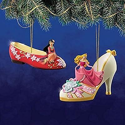 The Bradford Exchange Disney Once Upon a Slipper Ornament Set #12 Mulan and Cinderella