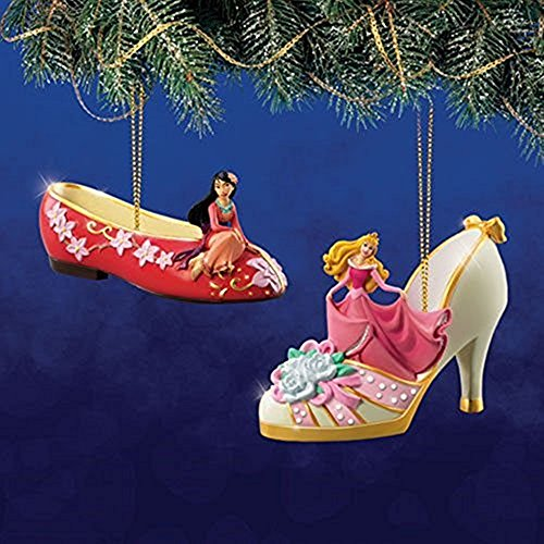 The Bradford Exchange Disney Once Upon a Slipper Ornament Set #12 Mulan and (Bradford Collectible Ornaments)
