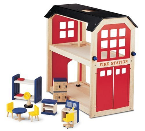 Pintoy: Classic Wooden Fire Station with Accessories, Wooden Toy Play Set