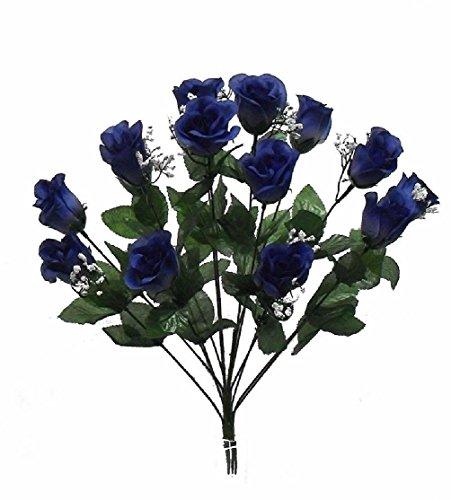 14-Roses-Dark-Blue-Long-Stem-Silk-Flower-Bush-Wedding-Bridal-Bouquet-Diy