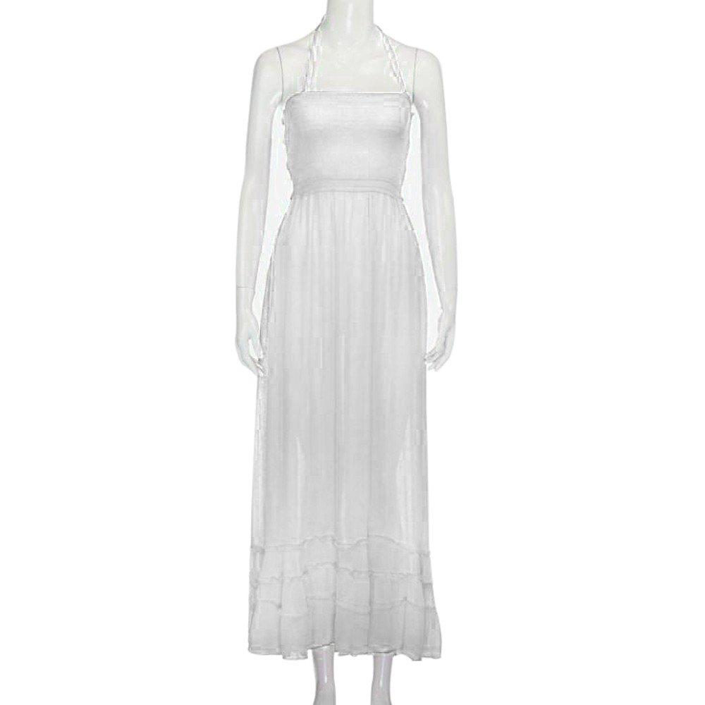 Fanyunhan Womens Ladies Summer Halter Neck Long Dress Bohemian Strappy Backless Maxi Dress Beach Evening Party Sling Sundress White by Fanyunhan Dress (Image #2)