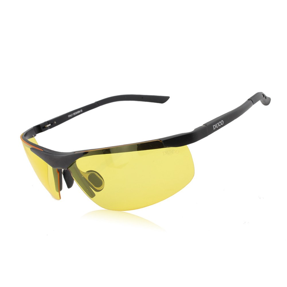 DUCO 8125 Night Vision Headlight Polarized Driving Glasses, Black Frame/Yellow Lens by DUCO