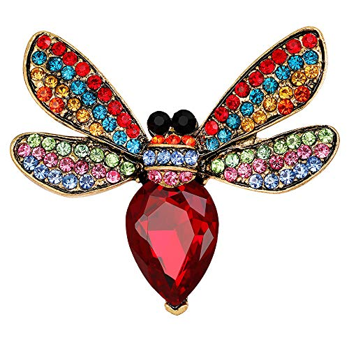 Stylebar Bee Brooch Pin Retro Bumble Honeybee Brooches Insect Pins Broaches for Women Girls Summer Ruby Color Crystal Vintage Gold Tone