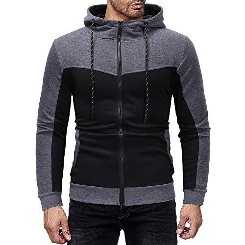KASAAS Hoodie Sweatshirts for Men Patchwork Zipper Front Drawstring Pocket Long Sleeve Sports Blouse Pullover Tops(Medium,Dark Gray)