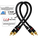 AUDIOBLAST 1 Foot RCA Cable Pair HQ-1 - Ultra Flexible - Dual Shielded (100%) High-Definition Audio Interconnect Cable and Neutrik-Rean NYS Gold RCA Connectors (2 cables, each 1 Foot long)
