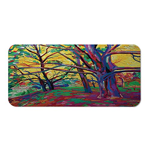 Country Decor Wristband Mouse Pad,Mod Funk Art Style Painting of a Colorful Forest in The Spring Time Nature Earth Boho for Home Desk Computer Desk,15.75''Wx23.62''Lx0.08''H (Best Funk Bands Of All Time)