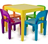 OxGord Kids Plastic Table and Chairs Set – Multi Colored Children Activity Table and Chairs for Playroom (Includes 1 Table and 4 Chairs)