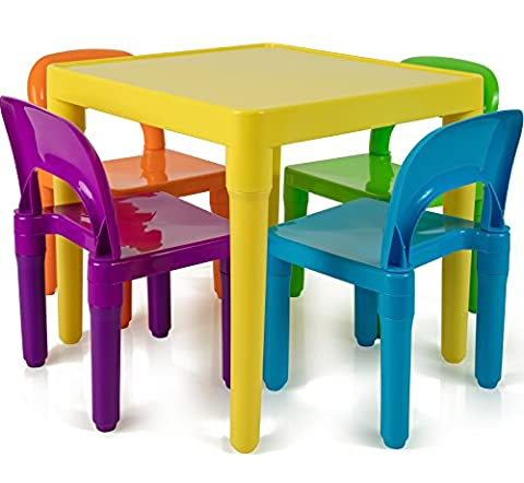 Children and Kids Table and Chairs Set | Includes 4 Plastic Chairs and 1 Art Craft Study Activity Table – Living Room Furniture – Picnic Table – Educational Learning Set - BPA (Plastic Chairs Set Of 4)