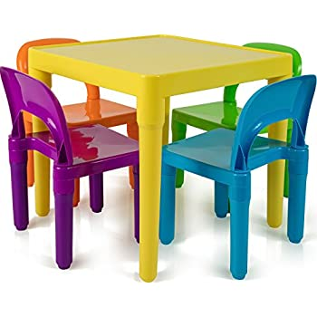 OxGord Kids Plastic Table And Chairs Set   Multi Colored Children Activity  Table And Chairs For Playroom (Includes 1 Table And 4 Chairs)