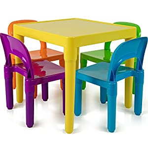 Kids Table and Chairs Set – Toddler Activity Chair Best for Toddlers Lego, Reading, Train, Art Play-Room (4 Childrens Seats with 1 Tables Sets) Little Kid Children Furniture Accessories – Plastic Desk