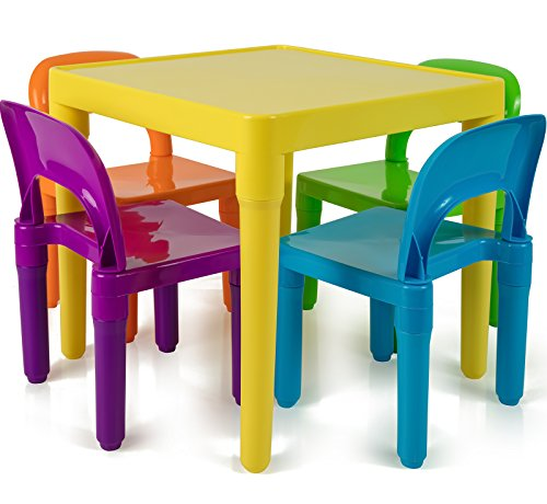 OxGord PLTC-01 Kids Plastic Table and Chairs Set (4 Chairs and 1 Table) by OxGord
