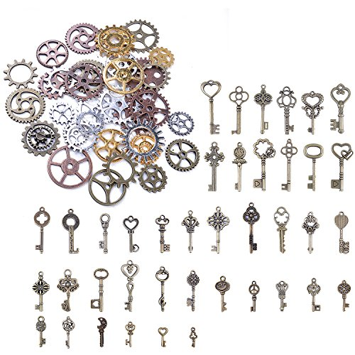 BronaGrand 125 Gram Antique Bronze Vintage Skeleton Keys Steampunk Gears Cogs Charms Pendant Clock Watch Wheel for Crafting, DIY Jewelry