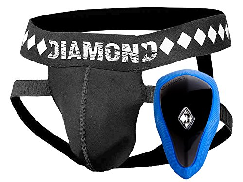 Diamond MMA Athletic Cup Groin Protector & Four-Strap No Shift Jock Strap System for Sports, Small