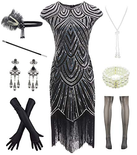 - Women 1920s Vintage Flapper Fringe Beaded Gatsby Party Dress with 20s Accessories Set Black Silver