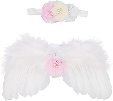 Newborn Baby Photo Prop Feather Angel Wings /& Headband with Rhinestone Flowers