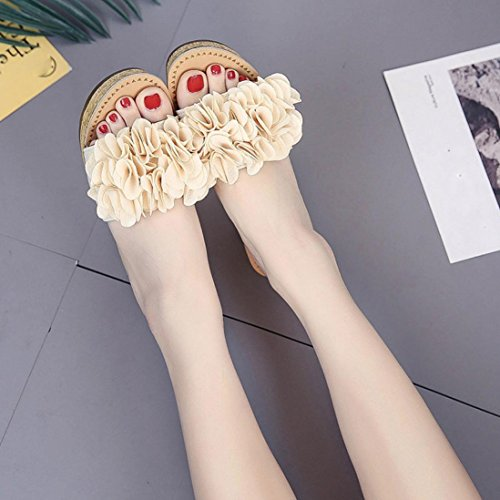 Lolittas Summer Beach Boho Wedge Sandals for Women Ladies,Black Floral High Heel Waterproof Platform Open Toe Wide Fit Slingback Outdoor Cushion Pantshoes Size 2-7 Beige